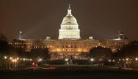 白宫夜景实拍素材