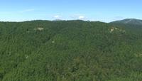 航拍高耸山峰上的树林