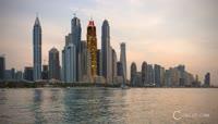 迪拜的白天夜晚交替实拍素材