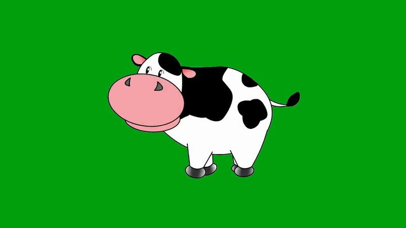 绿屏抠像卡通奶牛