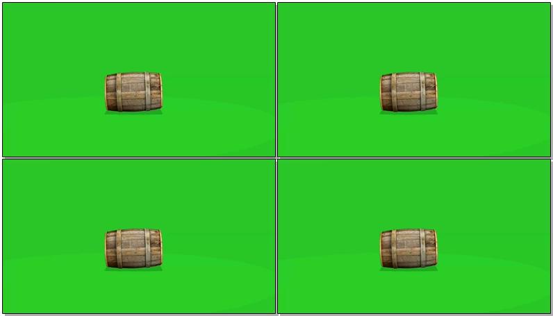 绿屏抠像滚动的木桶