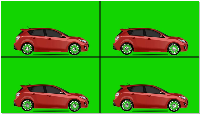 绿屏抠像红色汽车