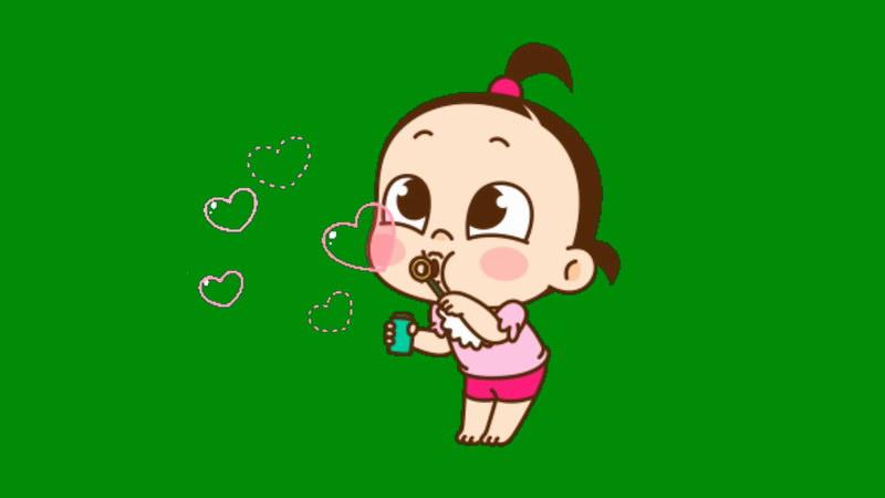 绿屏抠像吹泡泡的女孩