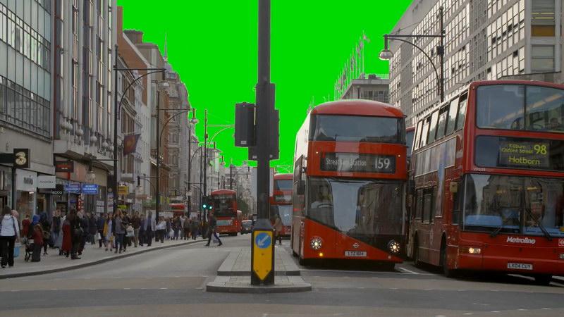绿屏抠像伦敦街头车辆人群