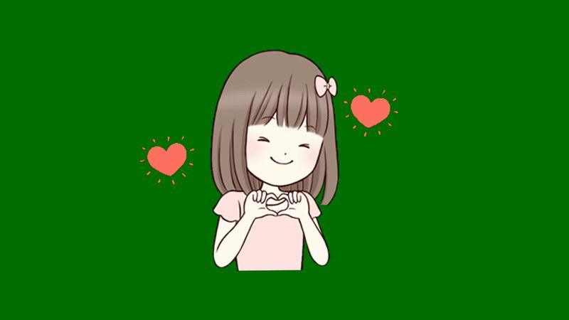 绿屏抠像示爱的小女孩