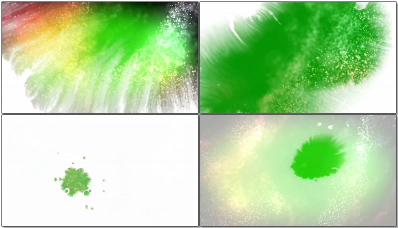 绿屏抠像彩色水墨粒子