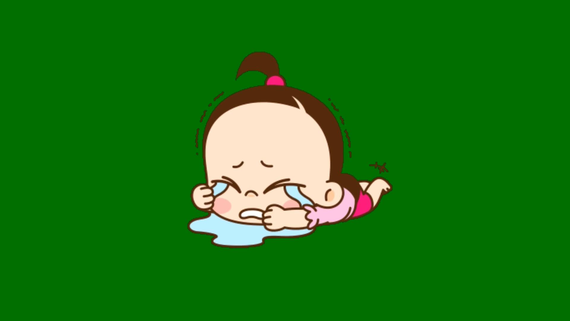 绿屏抠像哭闹的小女孩