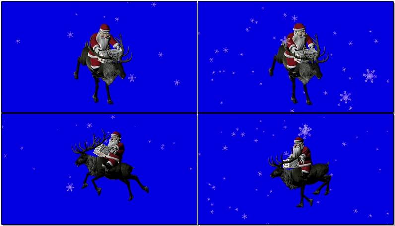 绿屏抠像骑麋鹿的圣诞老人