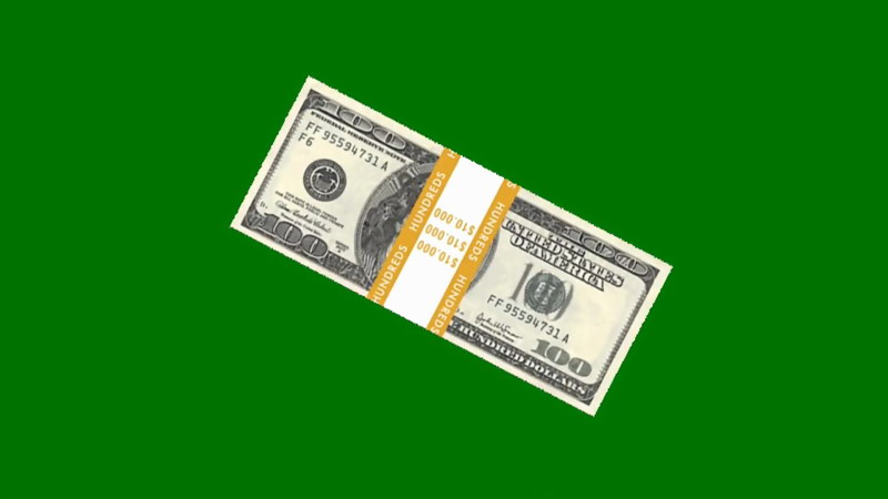 绿屏抠像成捆的钞票