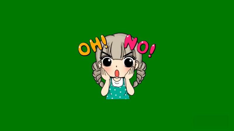 绿屏抠像惊讶的卡通女孩
