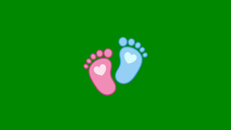 绿屏抠像可爱脚丫印记