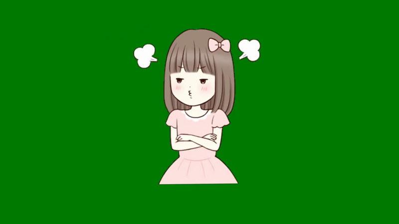 绿屏抠像生气的女孩
