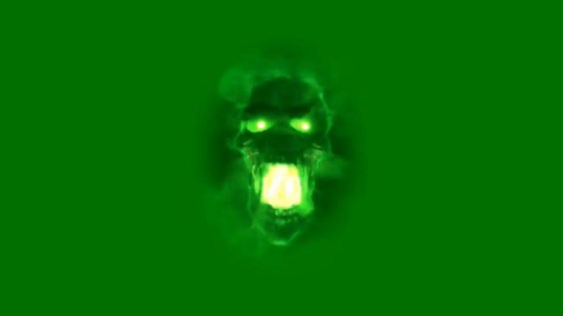 绿屏抠像绿色骷髅头