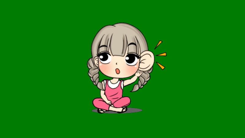 绿屏抠像窃听的小女孩