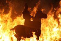 古代将军骑马出征剪影 烈火骑兵视频素材