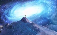 穿越宇宙星系星云 穿梭推进 人站在山巅 山峰之上