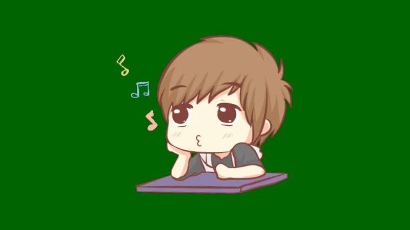 绿屏抠像吹口哨的小男孩