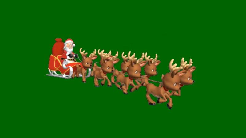 绿屏抠像坐麋鹿的圣诞老人