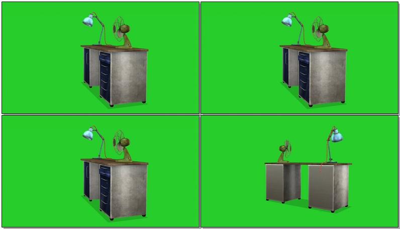 绿屏抠像老式木质书桌
