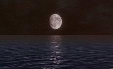 海底上升到海面 海平面月亮月球 海水上浮3d三维动画