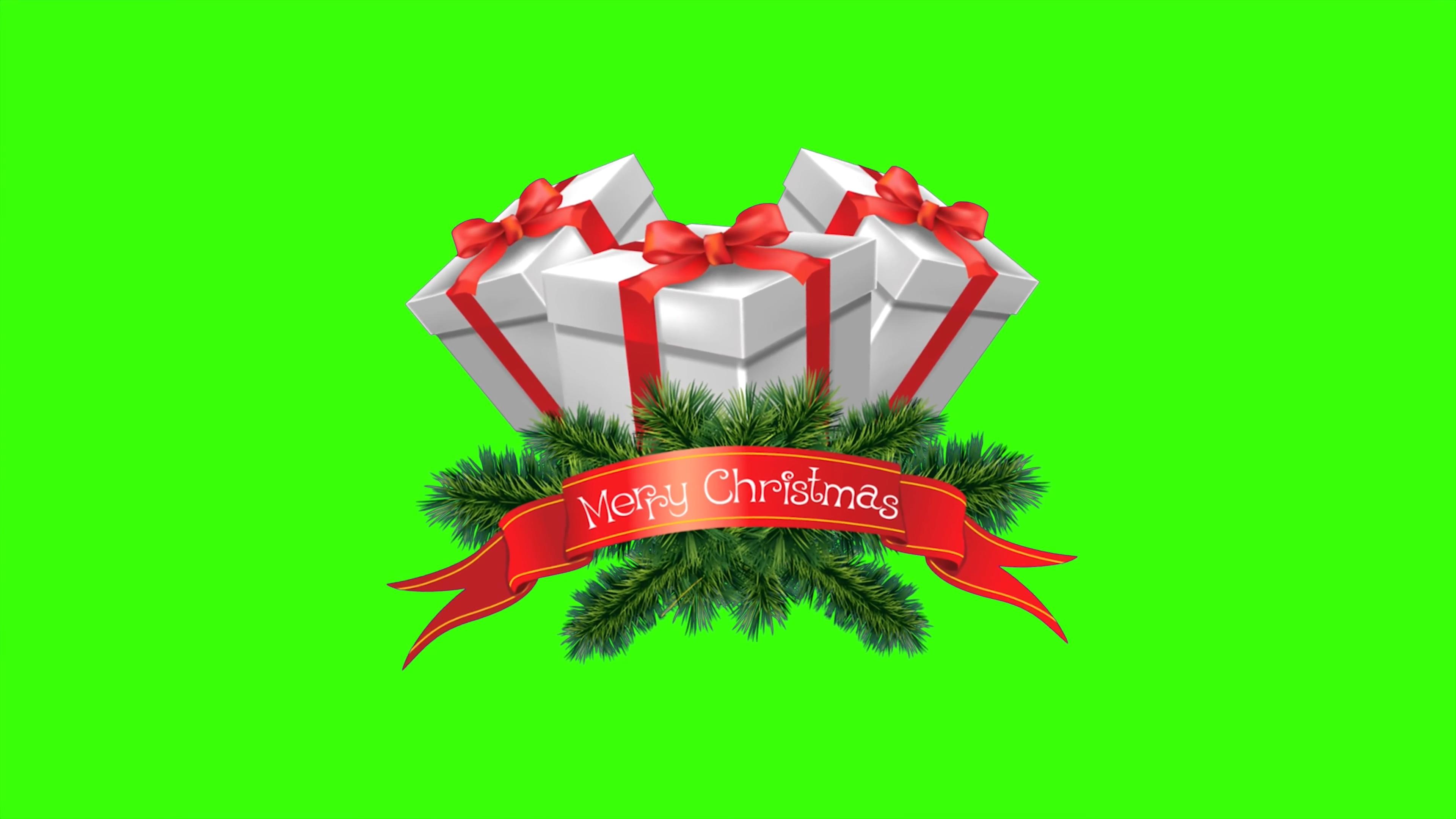 \[4K\]绿屏抠像圣诞节礼物盒