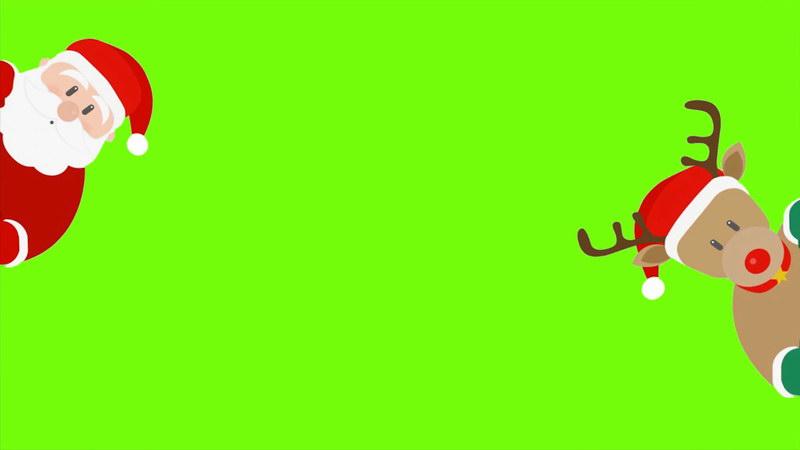 \[4K\]绿屏抠像圣诞老人和麋鹿