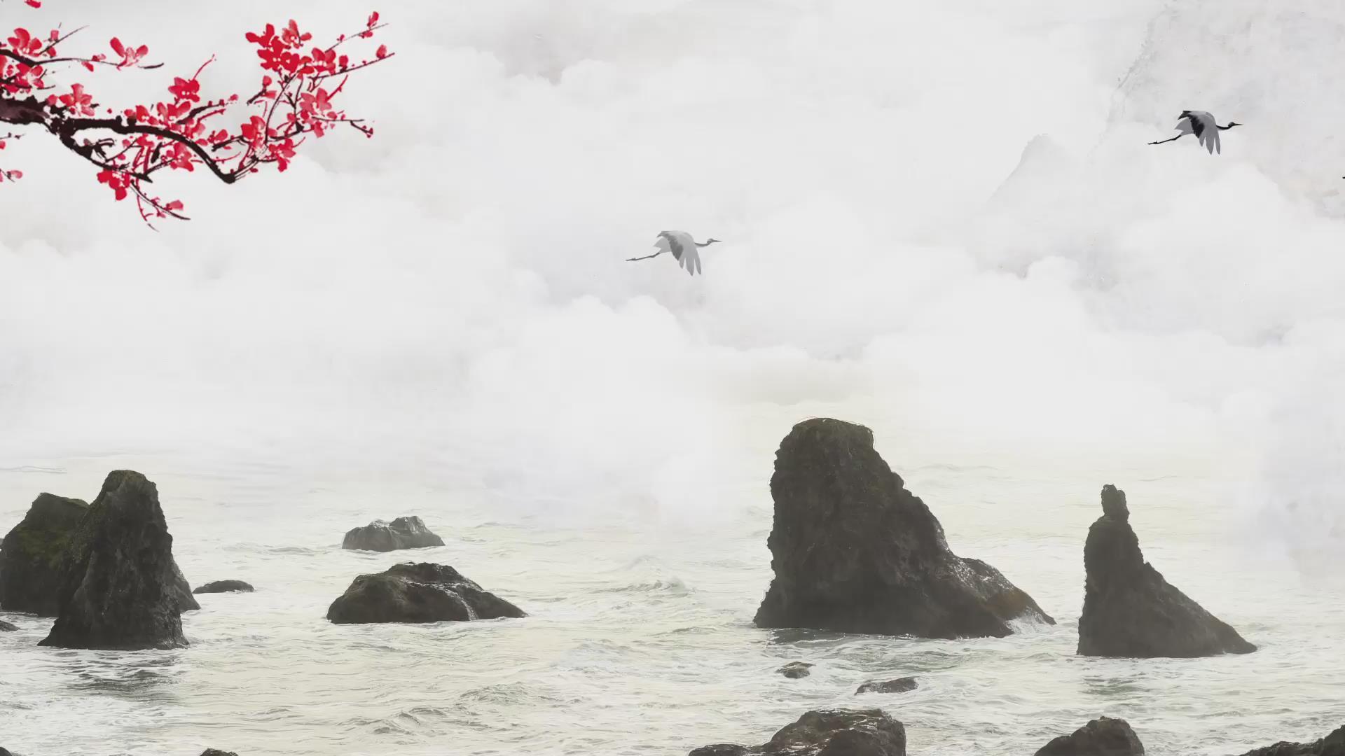 中国风仙境里的仙鹤视频素材