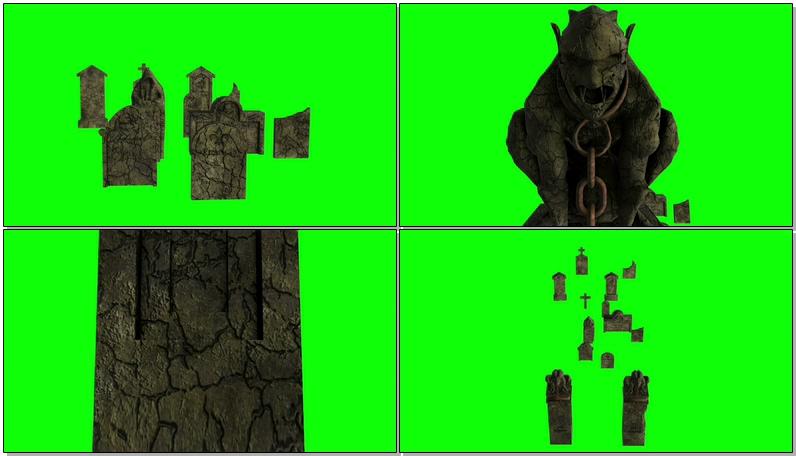 \[4K\]绿屏抠像墓地墓碑