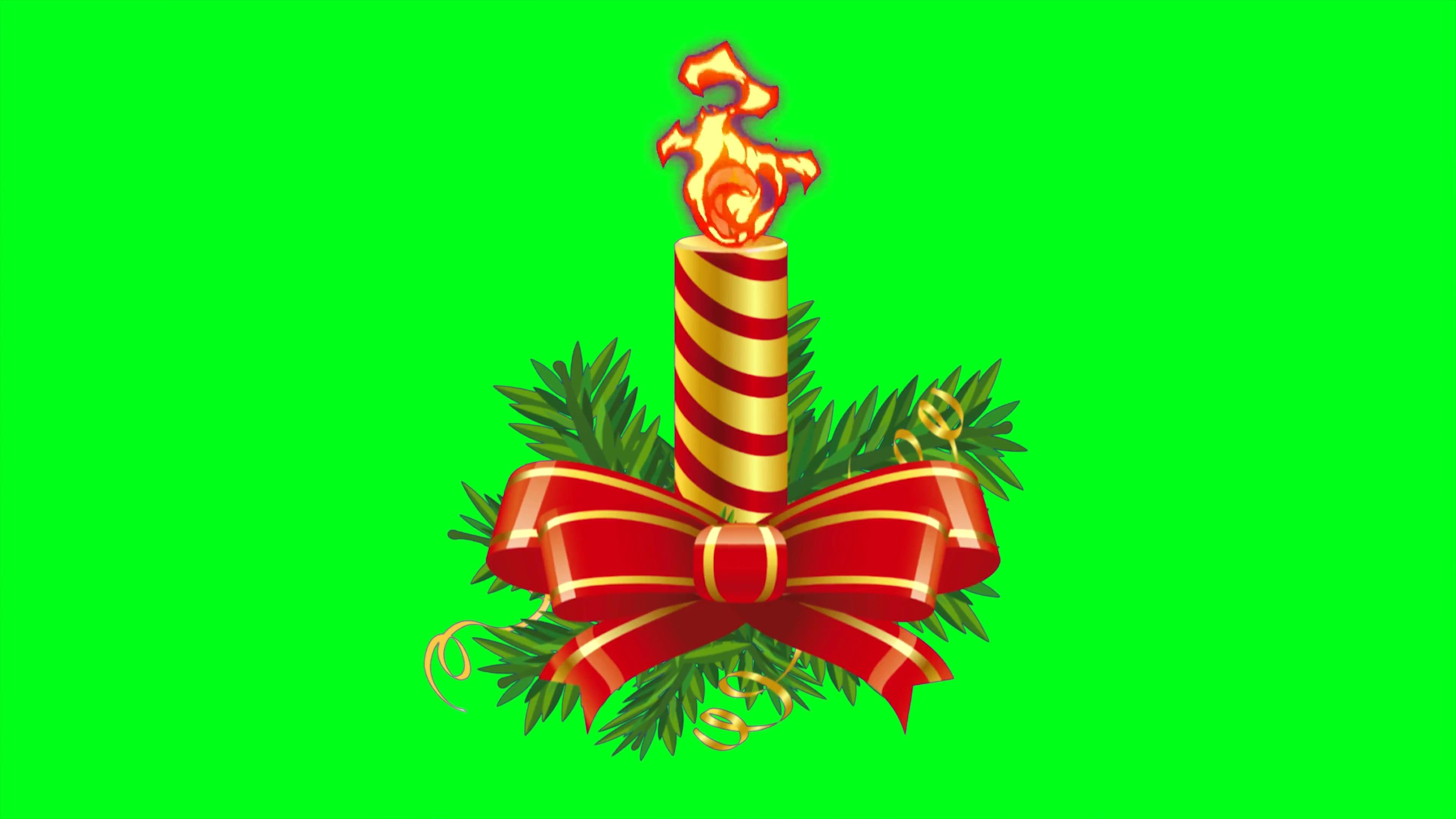 \[4K\]绿屏抠像圣诞节蜡烛