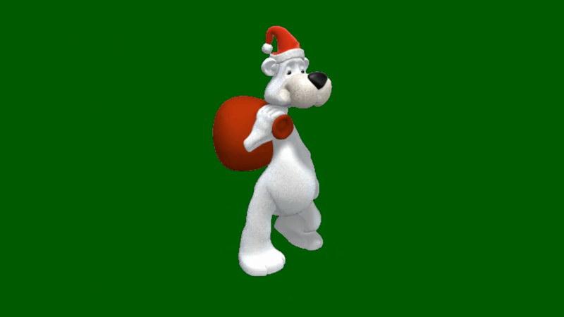 绿屏抠像送圣诞礼物的卡通熊狗