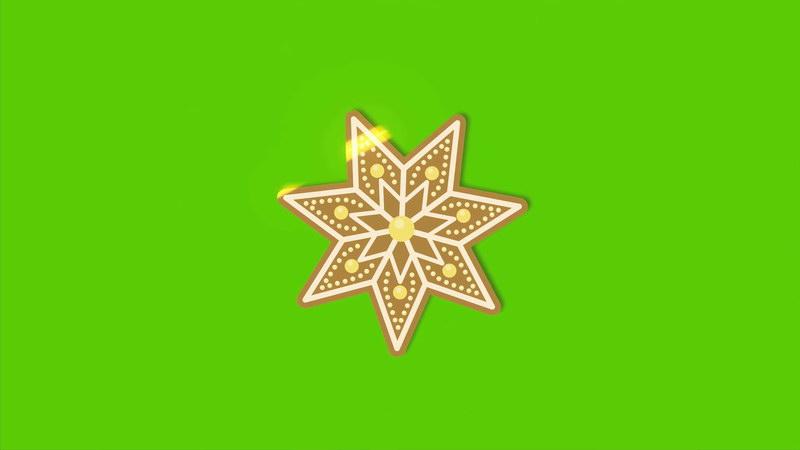 \[4K\]绿屏抠像旋转的黄金雪花片