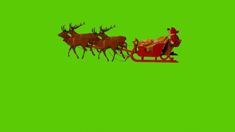 \[4K\]绿屏抠像圣诞老人雪橇车