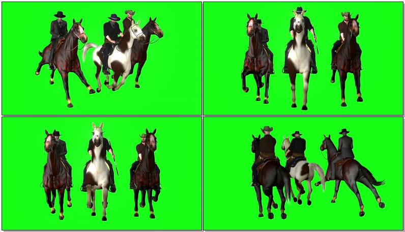 绿屏抠像骑马的牛仔