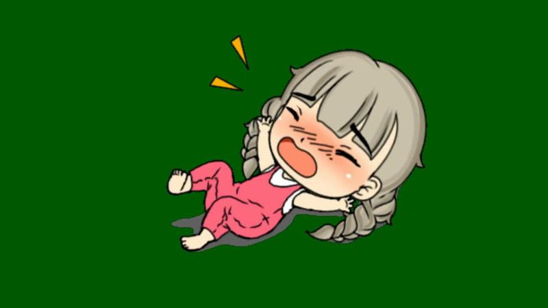 绿屏抠像哭闹撒娇的小女孩