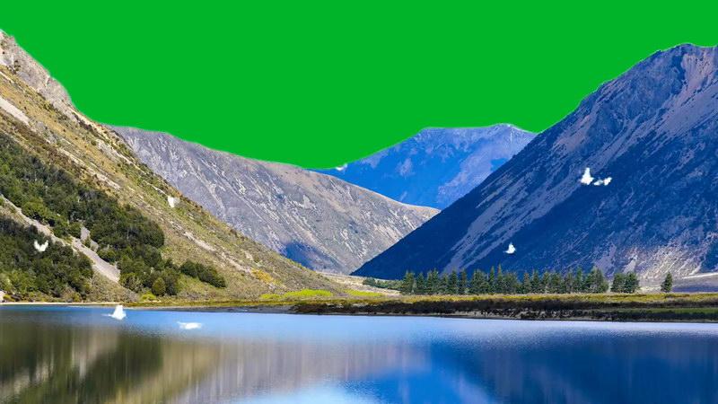 绿屏抠像雪山湖泊飞鸟