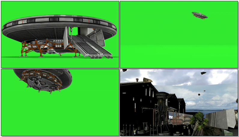绿屏抠像外星UFO飞碟