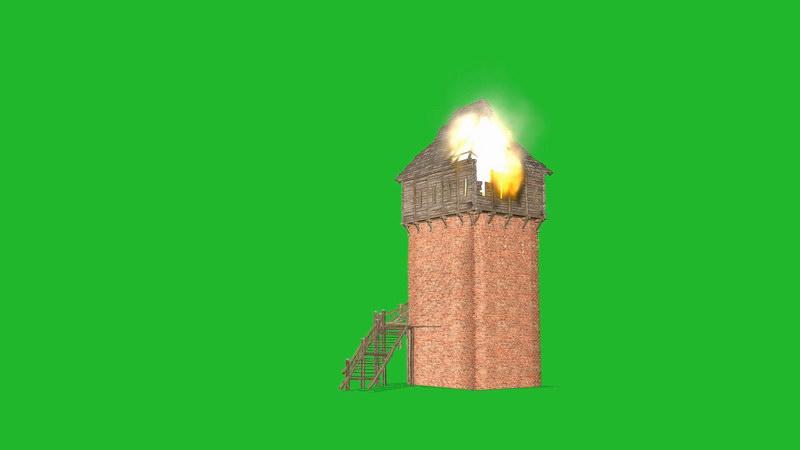 绿屏抠像着火的塔楼