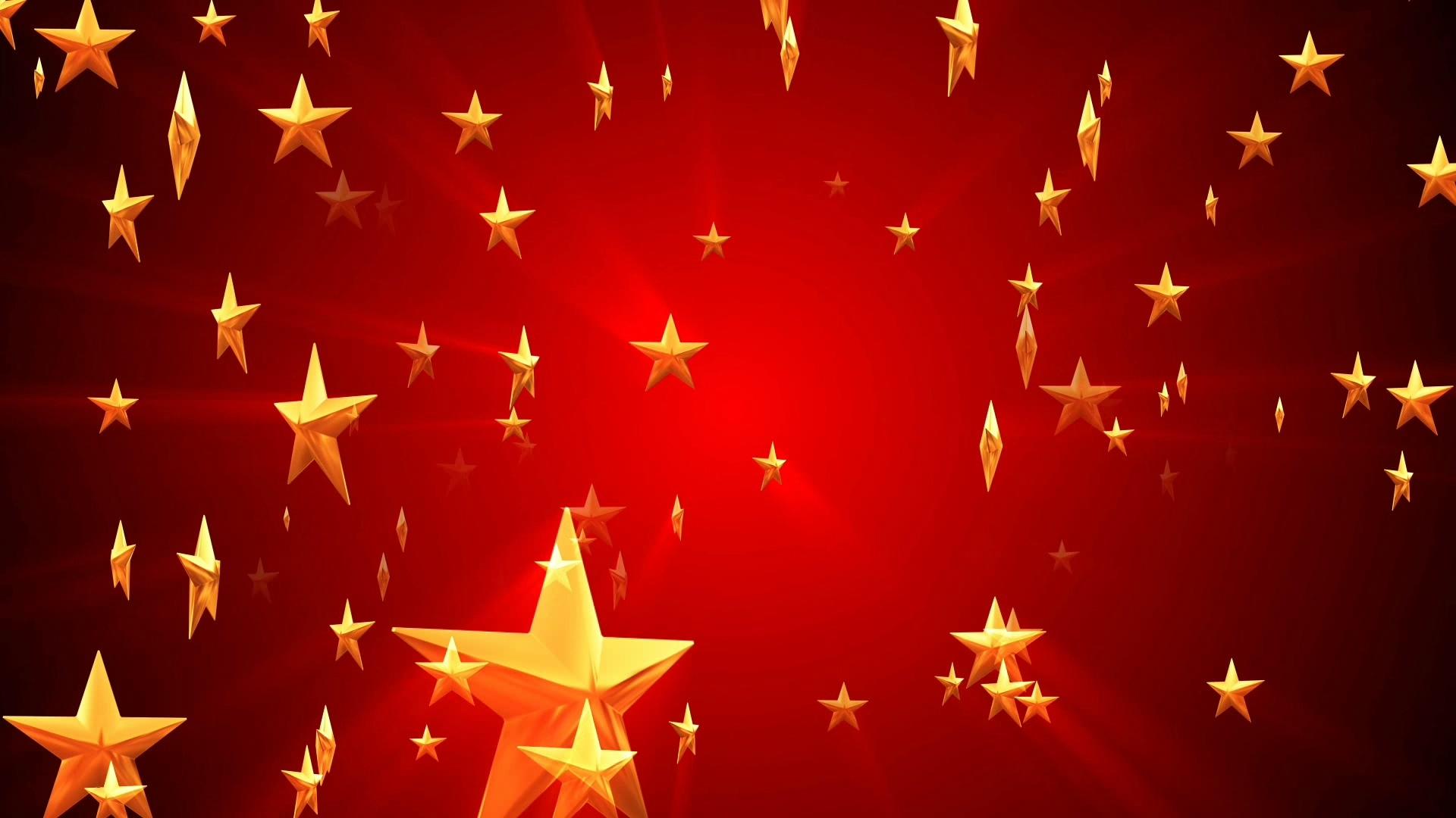 金色五角星红色党政军通用背景视频素材
