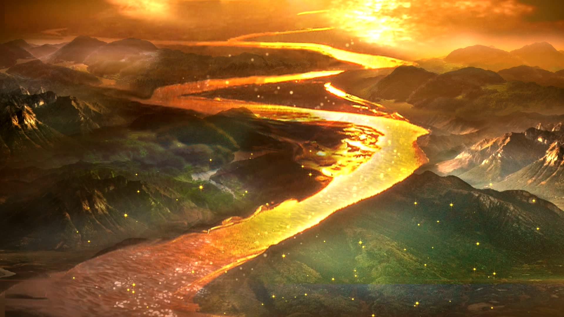 黄河金色河流黄河金色河流山峦江河雾气白云视频素材实拍