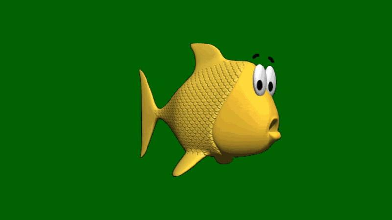 绿屏抠像卡通金鱼