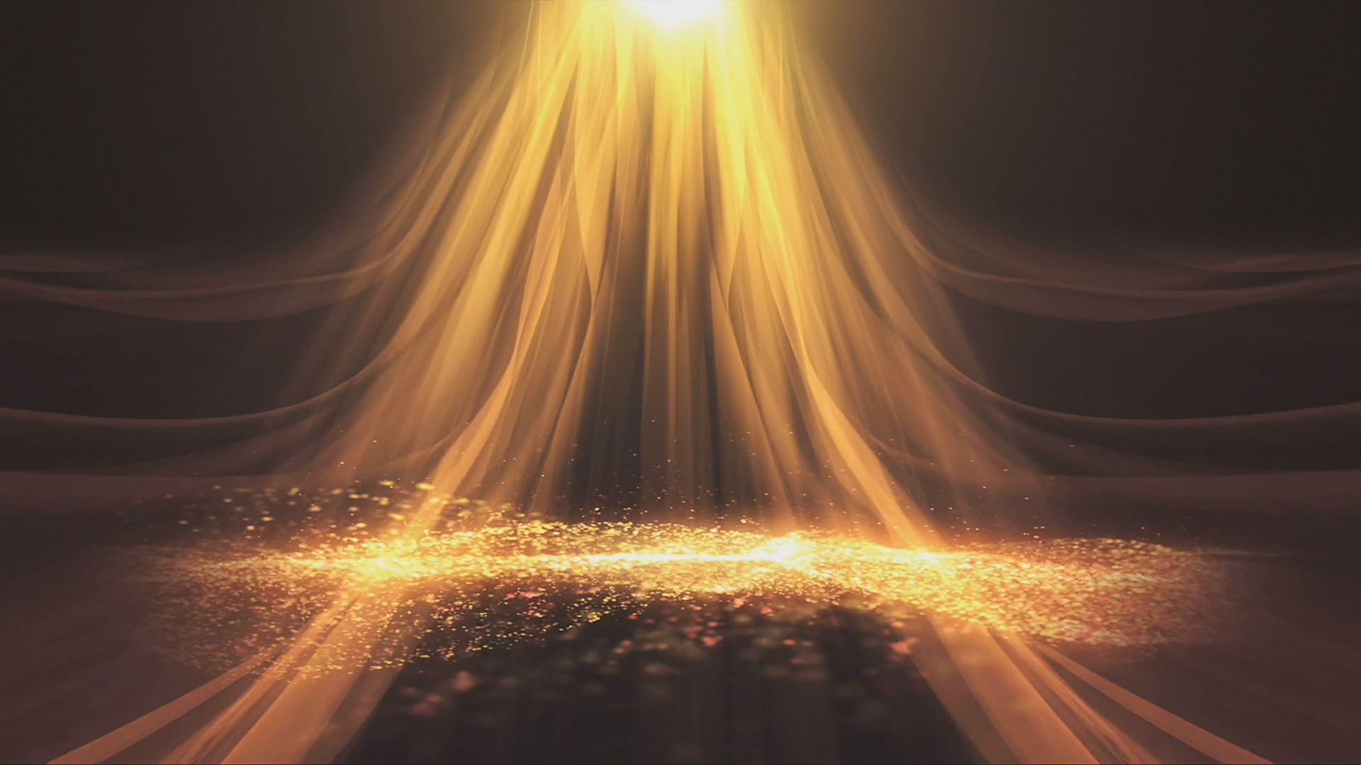 3D全息投影辉煌金色粒子海洋背景视频素材