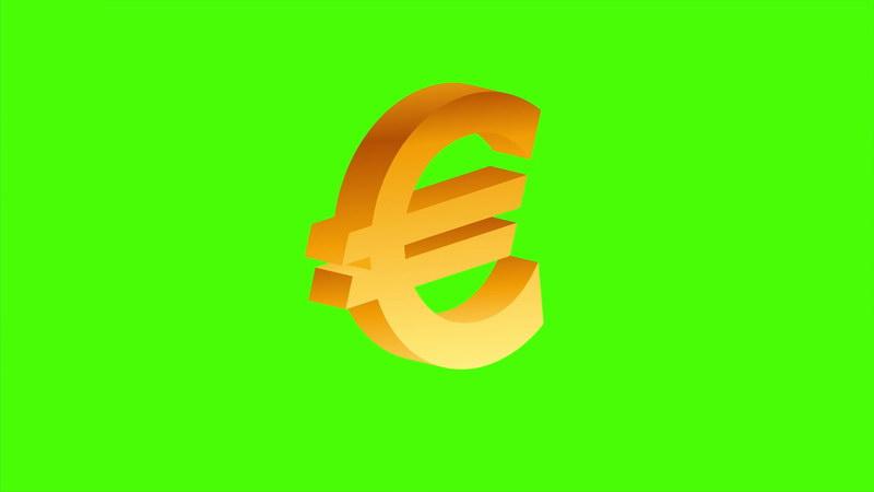 \[4K\]绿屏抠像欧元标志