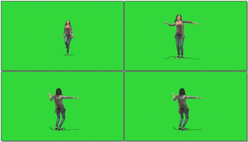 绿屏抠像跳舞的女子