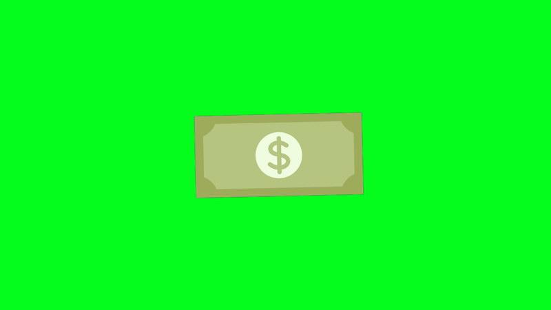 绿屏抠像卡通美元钞票