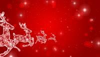 奔跑的圣诞鹿红色背景