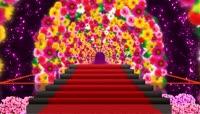 绚丽花朵拱门红地毯