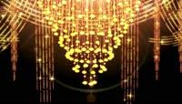大气金光旋转吊灯 金碧辉煌探射灯LED高清舞台婚礼背景视频素材