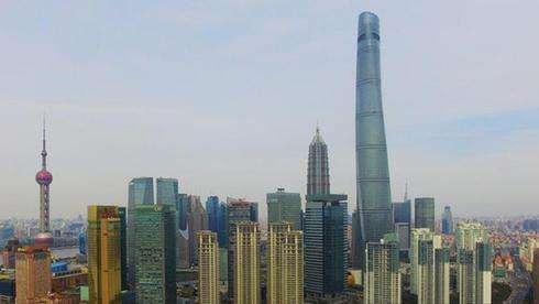 航拍上海中国第一高楼夜景
