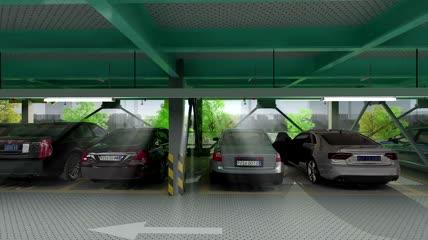 立体车库建设医院车辆建筑城市规划实拍视频素材