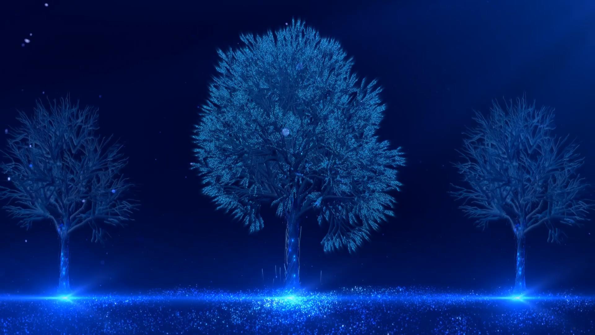 唯美蓝色光线粒子树LED视频素材